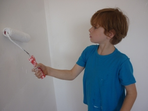 Painting with a little help from an experienced hand