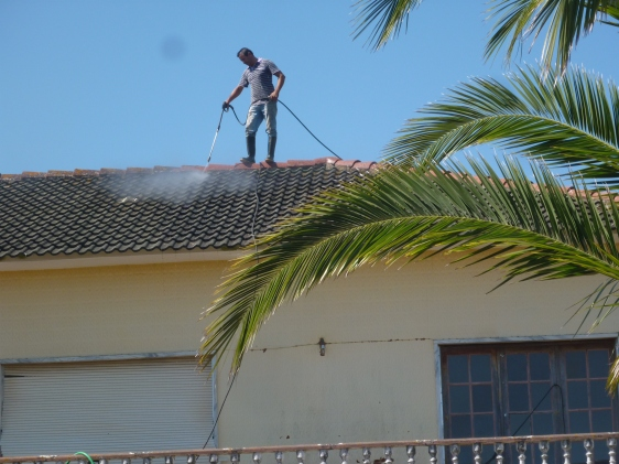 Washing the roof